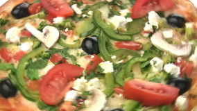 Vegetarian pizza close-up stock video
