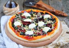 Vegetarian pizza with dried tomatoes, spinach, onion and cheese.  selective focus. Royalty Free Stock Image