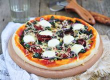 Vegetarian pizza with dried tomatoes, spinach, onion and cheese.  selective focus. Stock Images
