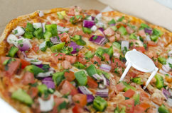 Vegetarian Pizza. A gourmet vegetarian pizza, topped with tomatoes, green peppers, and onions Stock Images
