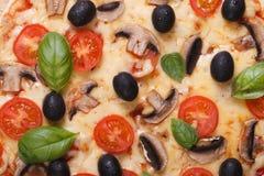 Vegetarian pizza macro texture. horizontal Stock Photos
