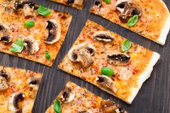 Vegetarian pizza with mushrooms Royalty Free Stock Images
