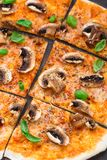 Vegetarian pizza with mushrooms Stock Photo