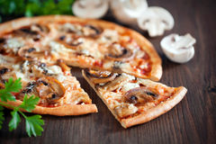 Vegetarian pizza. With mushrooms, selective focus Stock Image