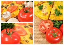 Vegetarian pizza with mushrooms and tomatoes Royalty Free Stock Photography