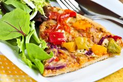 Vegetarian pizza with salad Stock Images