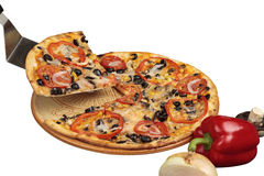 Vegetarian pizza with slice Royalty Free Stock Photos