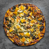 Vegetarian Pizza Top View on Slate Royalty Free Stock Photos