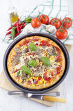 Vegetarian pizza in a tray Stock Image