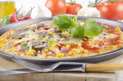 Vegetarian pizza in a tray Royalty Free Stock Image
