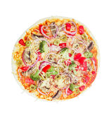 Vegetarian pizza with vegetables, mushrooms and olives Royalty Free Stock Photography