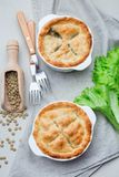 Vegetarian pot pie with lentil, mushrooms, potato, carrot and green peas, covered with puff pastry, in baking dish, vertical, top. Vegetarian pot pie with lentil stock image