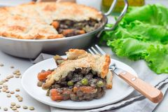 Vegetarian pot pie with lentil, mushrooms, potato, carrot and green peas, covered with puff pastry, on white plate, horizontal. Vegetarian pot pie with lentil stock photography