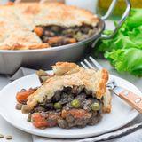 Vegetarian pot pie with lentil, mushrooms, potato, carrot and green peas, covered with puff pastry, on a white plate, square. Vegetarian pot pie with lentil royalty free stock photos