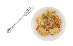Vegetarian potstickers meal with a fork. A microwaved vegetarian potstickers meal on a plate with a fork to the side isolated on a white background Royalty Free Stock Photos