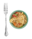 Vegetarian potstickers meal in a green bowl with fork. A microwaved vegetarian potstickers meal in a green bowl with a fork to the side isolated on a white Royalty Free Stock Photography