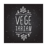 Vegetarian - product label on chalkboard Stock Photos