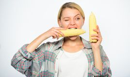 Vegetarian product. Raw food diet concept. Girl practice eating only or mostly food uncooked and unprocessed. Woman. Farmer bite yellow corn cob on white stock photos