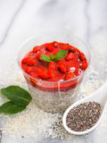 Vegetarian pudding with chia seeds. Strawberry and mint. Raw dessert for vegan Royalty Free Stock Photos
