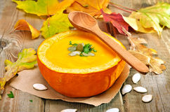 Vegetarian pumpkin cream soup Stock Photo