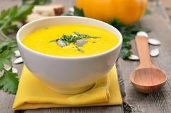 Vegetarian pumpkin soup in bowl Royalty Free Stock Image