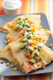 Vegetarian quesadilla. With sour cream royalty free stock photography
