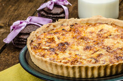 Vegetarian quiche and biscuits dark chocolate Stock Images