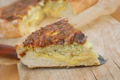 Vegetarian quiche with yeast dough Royalty Free Stock Photo