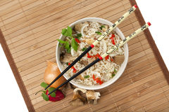 Vegetarian ramen noodles meal, birdsview Stock Photo