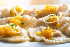Vegetarian ravioli with pumpkin. soft focus Royalty Free Stock Photography