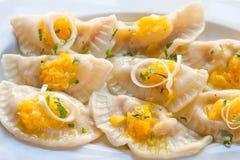 Vegetarian ravioli with pumpkin Stock Photos