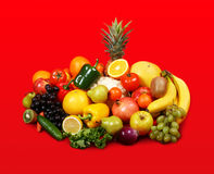 Vegetarian on red background Royalty Free Stock Images