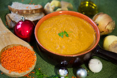 Vegetarian red lentil soup while Christmas Stock Photos