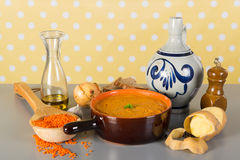 Vegetarian red lentil soup Stock Photos