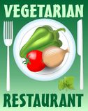 Vegetarian restaurant banner with plate, knife and fork, paprika, onion and tomato, elements on green background Stock Photos