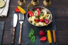 Vegetarian restaurant food, indian fruit salad Stock Photos