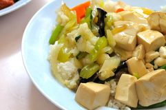 Vegetarian rice and bean curd cuisine Stock Photos