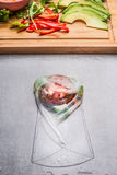 Vegetarian Rice paper rolls wrapping, top view. Close up Stock Photos