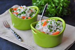 Vegetarian rice with a pea and carrot, vegetables Stock Images