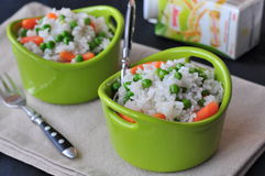 Vegetarian rice with a pea and carrot, vegetables Stock Photos
