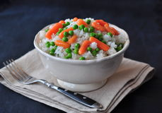 Vegetarian rice with a pea and carrot, vegetables Royalty Free Stock Image