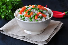 Vegetarian rice with a pea and carrot, vegetables Stock Photography