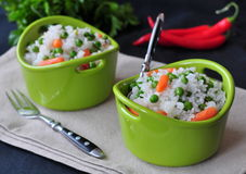 Vegetarian rice with a pea and carrot, vegetables Royalty Free Stock Photos