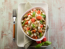 Vegetarian rice salad with tofu Stock Photo