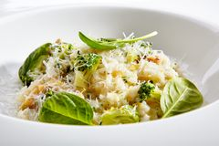 Vegetarian risotto with broccoli Royalty Free Stock Photos