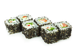 Vegetarian Roll. Vegetarian Maki Sushi -  Roll made of Cucumber, Bell Pepper, Salad Leaf and Cream Cheese inside. Sesame outside Royalty Free Stock Photography