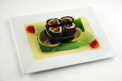 Vegetarian roll on bamboo leaf Royalty Free Stock Images