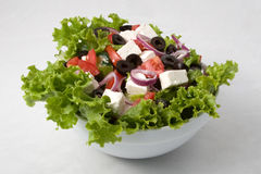 Vegetarian salad. With onion, olive, cheese, and other ingredients Stock Images