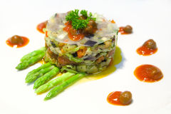 Vegetarian salad. With asparagus and rice paper Stock Photography