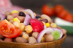 Vegetarian salad with beans, chickpeas and corn Stock Photos